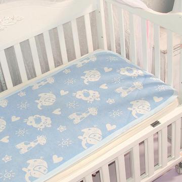 婴儿苎麻凉席宝宝夏季透气可洗四季新生儿童幼儿园小席子午睡专用 动物乐园蓝