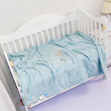 儿童天丝莫代尔夏凉被宝宝幼儿园艾草驱蚊被子婴儿空调被刺绣款-蓝灰