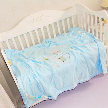 儿童天丝莫代尔夏凉被宝宝幼儿园艾草驱蚊被子婴儿空调被刺绣款-蓝