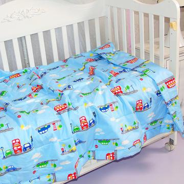 婴儿夏被全棉儿童夏被宝宝卡通可水洗夏凉被  110*150cm  小汽车-蓝