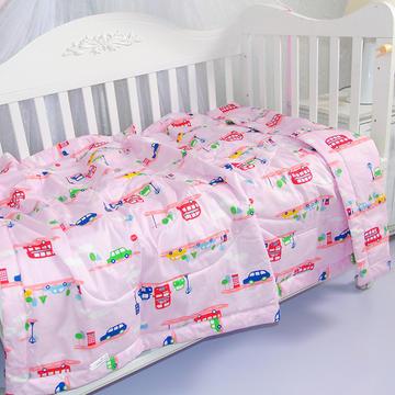 婴儿夏被全棉儿童夏被宝宝卡通可水洗夏凉被  110*150cm  小汽车-粉