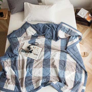 全棉色织水洗棉夏被 150x200cm 蓝大格