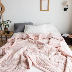 全棉色织水洗棉夏被 120x150cm 蜜粉小格