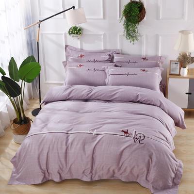 2019新款专版优帛长绒棉四件套 1.8m(6英尺)床 心动-紫