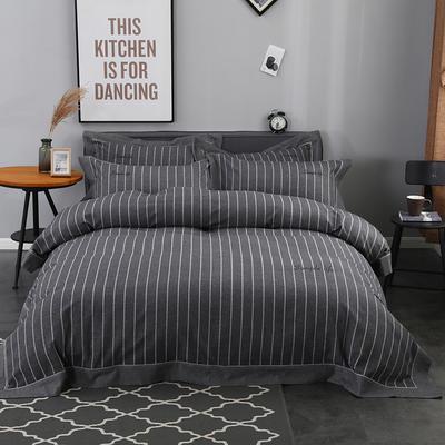2019新款专版色织臻绒四件套 1.5m/1.8m床 时空 深灰
