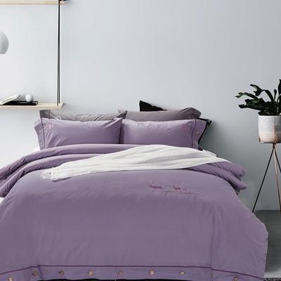 2019春夏专版新品睡洗长绒棉四件套 1.8m(6英尺)床 梦境(紫)