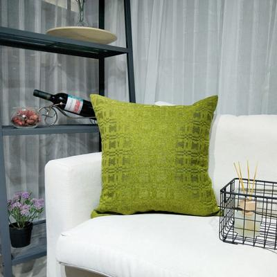 2019新款-北欧现代简约纯色棉麻抱枕沙发办公室靠垫 45*45cm(抱枕含芯) 青苔绿