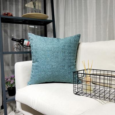 2019新款-北欧现代简约纯色棉麻抱枕沙发办公室靠垫 45*45cm(抱枕含芯) 森林蓝