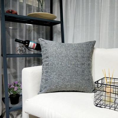 2019新款-北欧现代简约纯色棉麻抱枕沙发办公室靠垫 45*45cm(抱枕含芯) 岩石灰