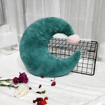 2018新款-ins仙女北欧风兔兔绒抱枕毛球皇冠月亮五角星爱心三角形靠垫毛绒