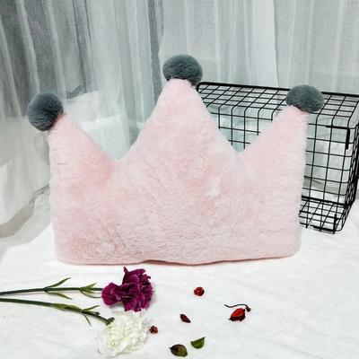 2019新款-ins仙女北欧风兔兔绒抱枕毛球皇冠月亮五角星爱心三角形靠垫毛绒 其他规格 大皇冠-仙女粉