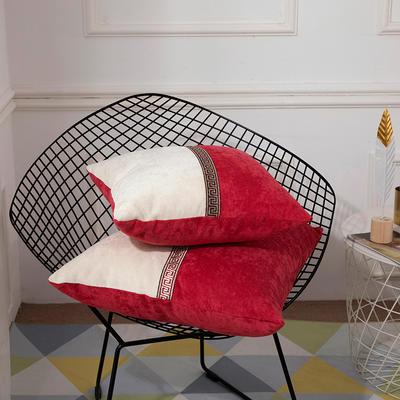 2019新款-新中式简约雪尼尔拼接撞色沙发抱枕靠垫 45x45cm(抱枕含芯) 绛雪春-红色