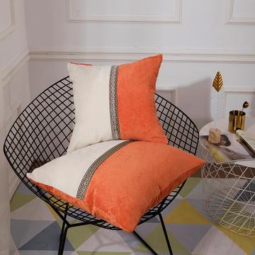 2018新款-新中式简约雪尼尔拼接撞色沙发抱枕靠垫