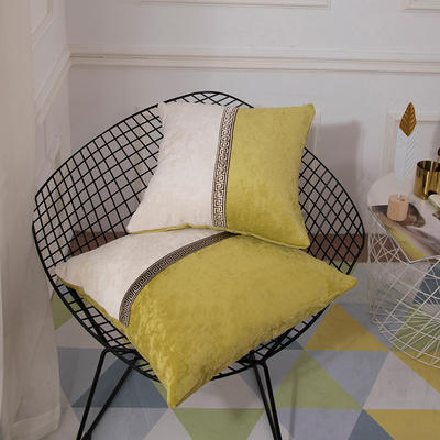 2019新款-新中式简约雪尼尔拼接撞色沙发抱枕靠垫 45x45cm(抱枕含芯) 绛雪春-绿色