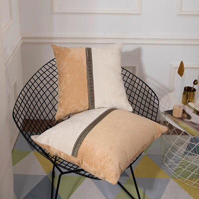 2019新款-新中式简约雪尼尔拼接撞色沙发抱枕靠垫 45x45cm(抱枕含芯) 绛雪春-米色