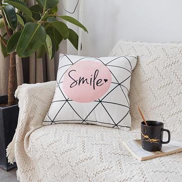 2018新款-ins北欧极简风水晶绒抱枕沙发靠垫粉色系列 套子 白格smile(45*45)