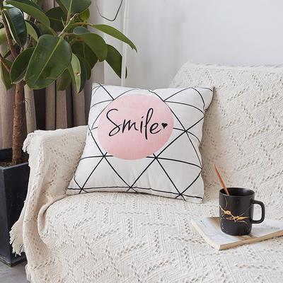 2019新款-ins北欧极简风水晶绒抱枕沙发靠垫粉色系列 含芯 白格smile(45*45)