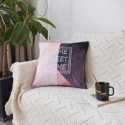 2019新款-ins北欧极简风水晶绒抱枕沙发靠垫粉色系列 含芯 粉灰home(45*45)