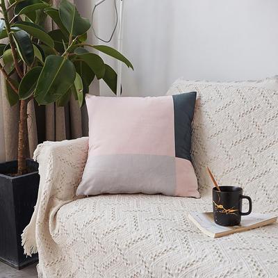 2019新款-ins北欧极简风水晶绒抱枕沙发靠垫粉色系列 含芯 粉灰拼接(45*45)