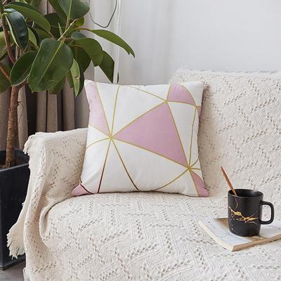 2019新款-ins北欧极简风水晶绒抱枕沙发靠垫粉色系列 含芯 几何粉白格(45*45)