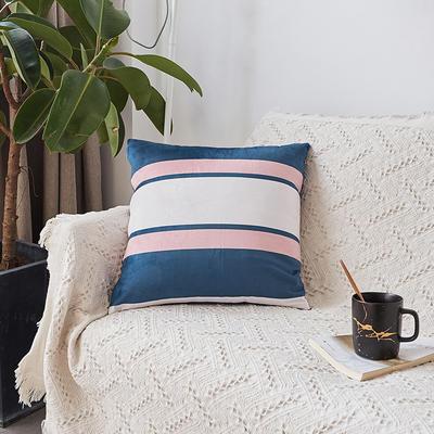2019新款-ins北欧极简风水晶绒抱枕沙发靠垫粉色系列 含芯 蓝白条纹(45*45)
