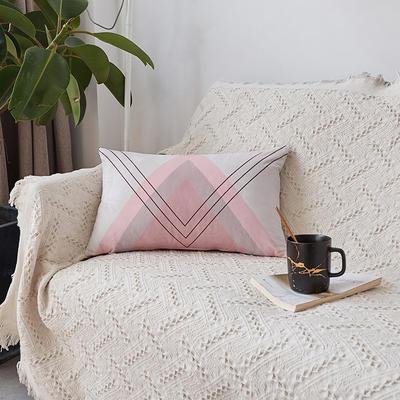 2019新款-ins北欧极简风水晶绒抱枕沙发靠垫粉色系列 含芯 粉三角(30*50)