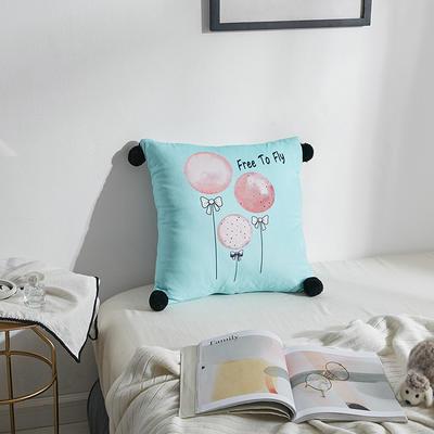 2019新品小清新毛球款双面数码印花水晶绒抱枕小清新冬季短毛绒沙发靠垫办公室抱枕 45x45cm 我的气球
