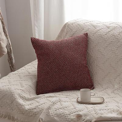2019新款毛线针织抱枕沙发靠垫 45x45cm 酒红色(含芯)