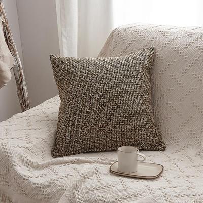 2019新款毛线针织抱枕沙发靠垫 45x45cm 米色(含芯)