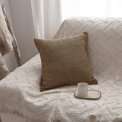 2019新款毛线针织抱枕沙发靠垫 45x45cm 姜黄色(含芯)