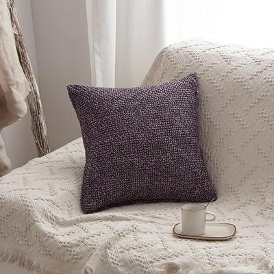 2019新款毛线针织抱枕沙发靠垫 45x45cm 紫色(含芯)