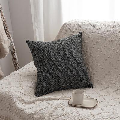 2019新款毛线针织抱枕沙发靠垫 45x45cm 深灰色(含芯)