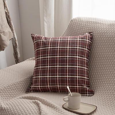 2019新款亚麻格子抱枕沙发靠垫 55x55cm 酒红格(单套)
