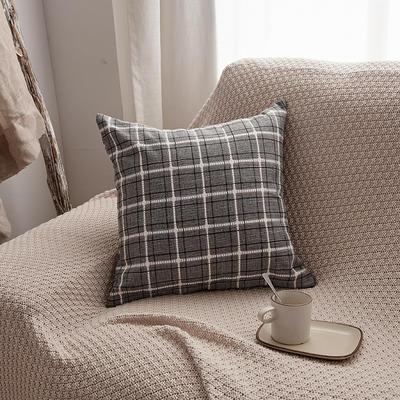 2019新款亚麻格子抱枕沙发靠垫 55x55cm 灰色格(单套)