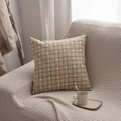 2019新款亚麻格子抱枕沙发靠垫 55x55cm 米色格(含芯)