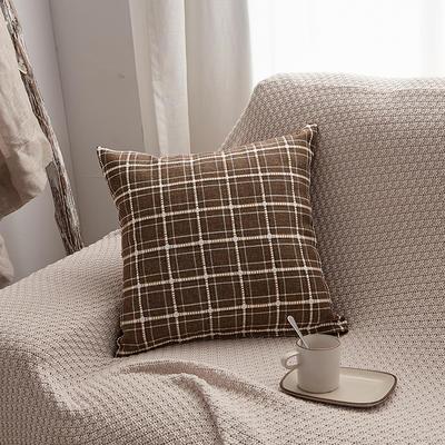 2019新款亚麻格子抱枕沙发靠垫 55x55cm 深咖格(含芯)