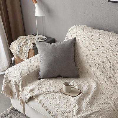 2019新款纯色素色雪尼尔棉花线抱枕北欧风港式风沙发靠垫 45x45cm(含芯) 灰色