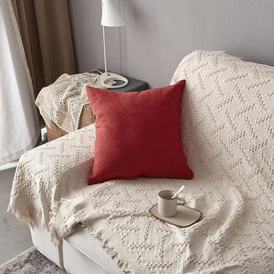 2019新款纯色素色雪尼尔棉花线抱枕北欧风港式风沙发靠垫 45x45cm(含芯) 红色