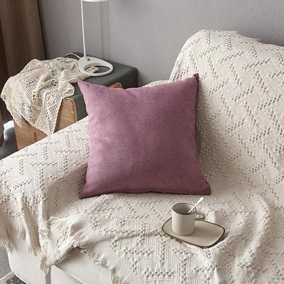 2019新款纯色素色雪尼尔棉花线抱枕北欧风港式风沙发靠垫 45x45cm(含芯) 紫色