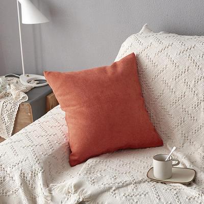 2019新款纯色素色雪尼尔棉花线抱枕北欧风港式风沙发靠垫 45x45cm(含芯) 橘色