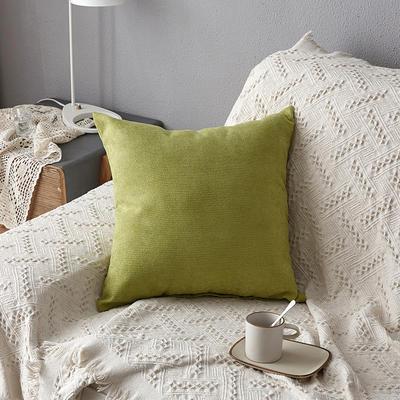 2019新款纯色素色雪尼尔棉花线抱枕北欧风港式风沙发靠垫 45x45cm(含芯) 绿色