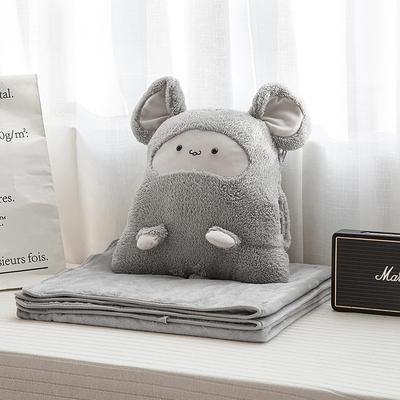 2019新款卡卡鼠抱枕毯暖手捂三合一 50*35cm(毯子1*2m) 灰色