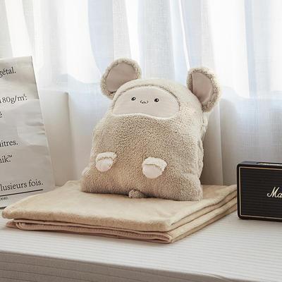 2019新款卡卡鼠抱枕毯暖手捂三合一 50*35cm(毯子1*2m) 咖色