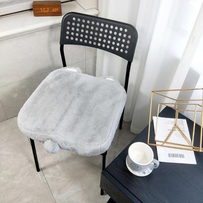 2019兔兔绒慢回弹记忆棉懒人坐垫卡通造型(可拆洗 防滑)场景一 40*40*6cm 奶灰色 猫咪