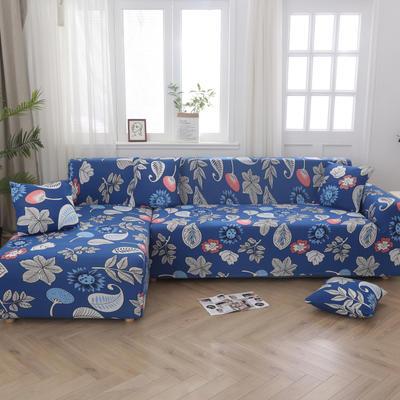 2020新款四季款印花沙发套 单人位尺寸90-140cm 蓝色经典