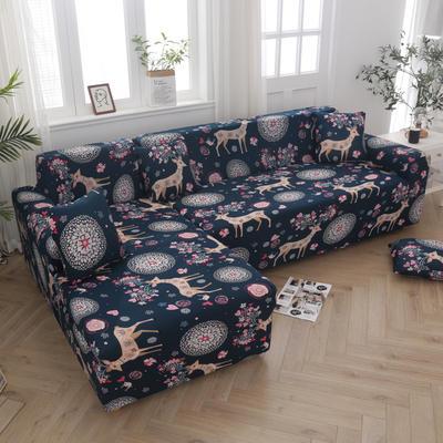 2020新款四季款印花沙发套 单人位尺寸90-140cm 圣诞小鹿