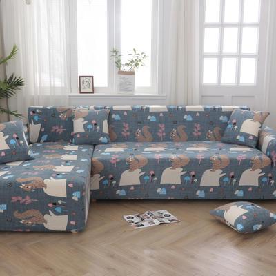 2020新款四季款印花沙发套 单人位尺寸90-140cm 松鼠