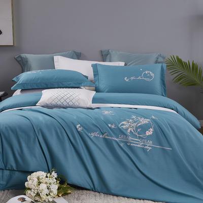 2021新品60支全棉刺绣四件套  诺娅时光 1.8m(6英尺)床 翡翠绿