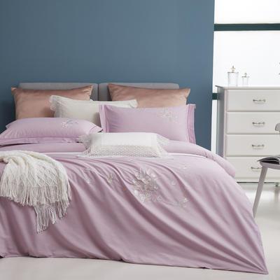 2021新品60支全棉刺绣四件套 一诺倾城 1.8m(6英尺)床 水晶紫