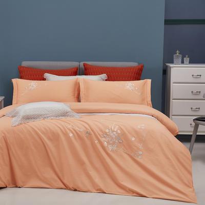 2021新品60支全棉刺绣四件套 一诺倾城 1.8m(6英尺)床 香橙桔